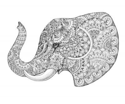 Naklejka Tattoo profile elephant with patterns and ornaments
