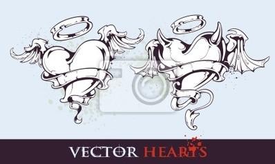 Tattoo stylu serca dwa