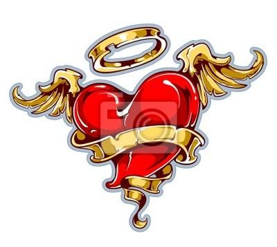 Tattoo stylu serce ze skrzydłami, aureolą i taśmy
