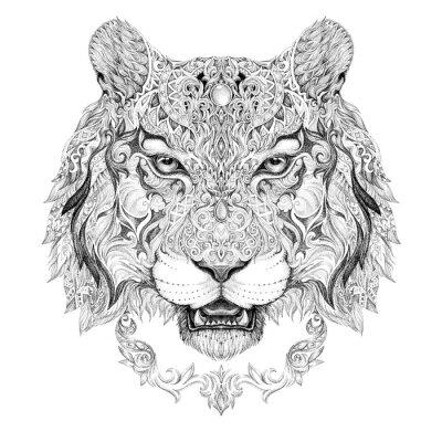Naklejka Tatuaż, grafika głowa tygrysa