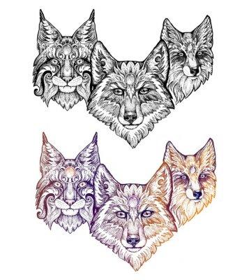 Naklejka Tatuaż. Wilk, ryś i lis