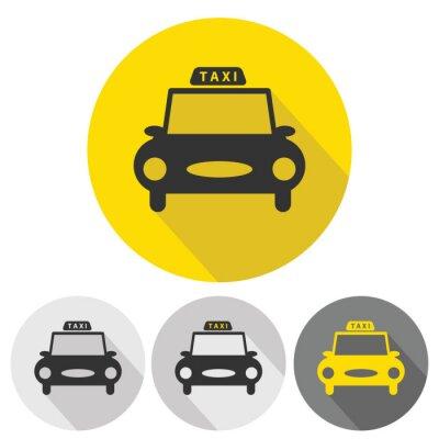 Naklejka taxi car flat icons set