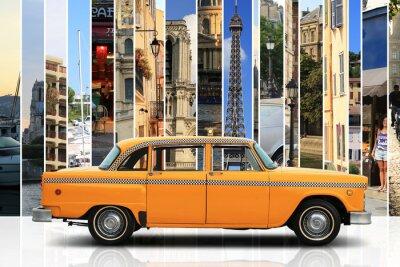 Naklejka Taxi, samochód retro kolor pomarańczowy na białym tle