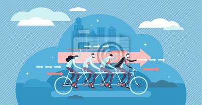 Naklejka Teamwork motivated cooperation power concept, flat tiny persons vector illustration