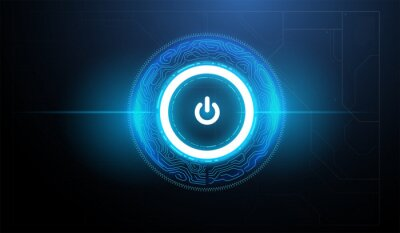 Naklejka Tech futuristic technology background with power button. Abstract technology ui concept with futuristic hud elements.