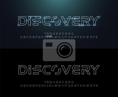 Technologia abstrakcyjna neonowa linia obrysu czcionki i alfabetu. wzory logo z efektem techno. Koncepcja przestrzeni cyfrowej typografii. ilustracji wektorowych