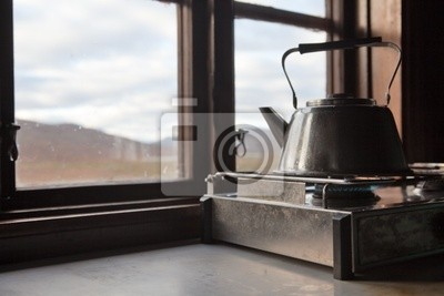 Teekessel w berghütte einer