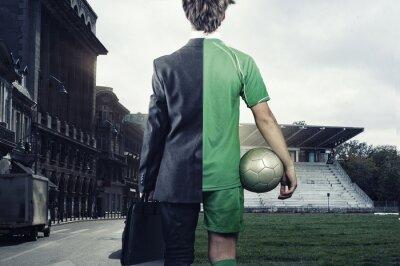 Teenager half soccer player half businessman