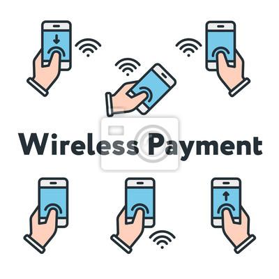 Telefon w ręku Podgląd palca Kontrola bezprzewodowa Minimalna linia płaskiej linii konspektu Zestaw ikon skoku