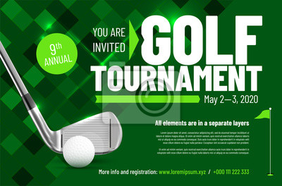 Naklejka Template for your golf tournament invitation with sample text