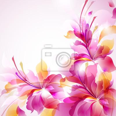 Tender background streszczenie kwiat z trzema