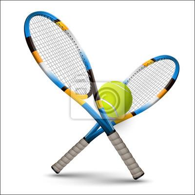 Naklejka Tenis symbole rakiety i piłka na białym tle