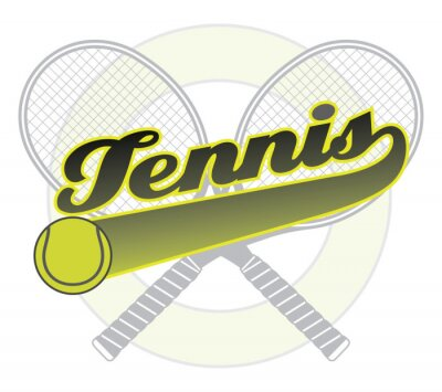 Naklejka Tenis z ogonem Banner jest ilustracją projektu tenisowy z tenisem słowo z transparentem ogona do własnego tekstu, piłki do tenisa i tenisa rakiet.