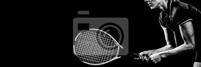 Naklejka Tenisista gra w tenisa z rakietą