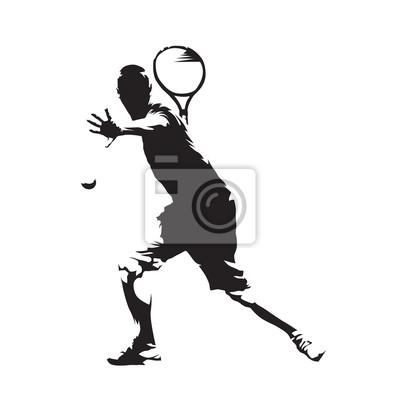 Tenisista, wektor abstrakcyjna samodzielnie silhouette