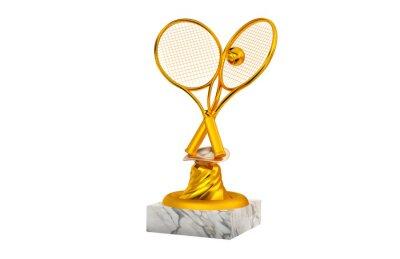 Naklejka Tenisowe złote trofeum z rakietą i piłką na marmurowej podstawie