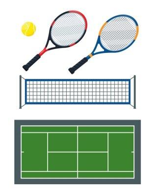 Naklejka Tennis Ball, net, rackets and green court