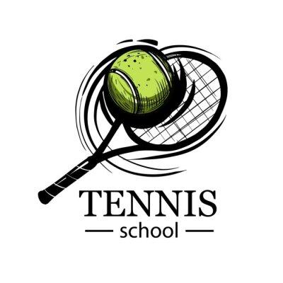 Naklejka Tennis emblem. tennis racquet. Tennis ball. Tennis club, tennis school, tournament. Logo design, vector illustrations