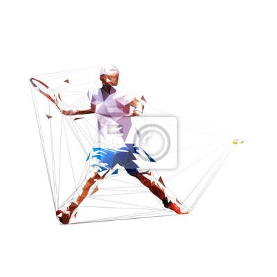 Tennis player forehand shot, isolated low polygonal vector illustration. Tennis smash, geometris drawing