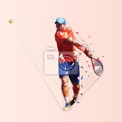 Tennis player, isolated low poly vector illustration. Man playing tennis. Individual summer sport. Active people