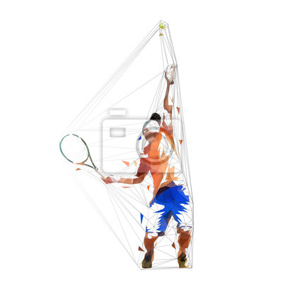 Tennis player serving ball, low poly vector illustration. Geometric man playing tennis. Individual summer sport. Active people