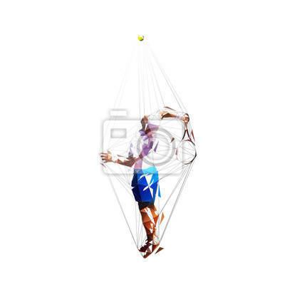 Tennis player serving ball, low polygonal vector drawing. Abstract geometric drawing
