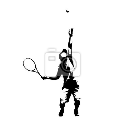 Tennis player serving ball, service, abstract isolated vector silhouette
