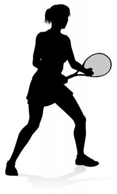 Naklejka Tennis Player Woman Sports Person Silhouette