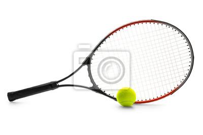 Naklejka Tennis racket and ball on white background