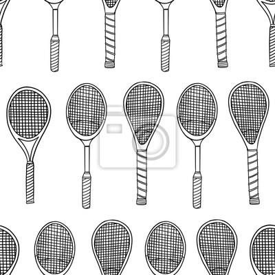 Naklejka Tennis racket doodle seamless pattern. Vector illustration background. For print, textile, web, home decor, fashion, surface, graphic design