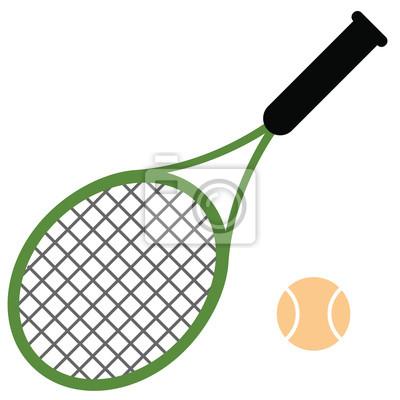 Naklejka Tennis racket flat illustration on white