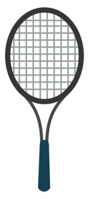 Naklejka Tennis racket, illustration, vector on white background.
