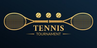 Naklejka Tennis tournament logo or badge with two rackets and tennis balls. Vector illustration.