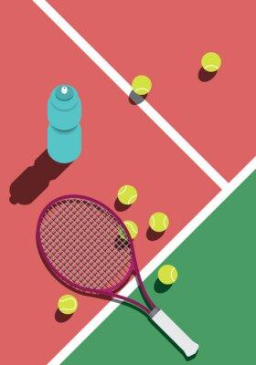 Naklejka tennis training rest illustration