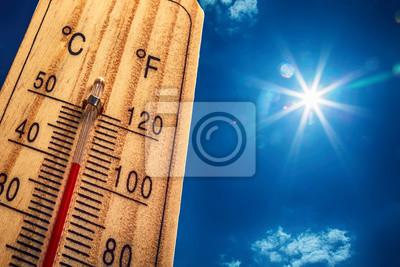 Naklejka Termometr Sun Sky 40 Degres. Gorący letni dzień. Wysokie temperatury latem w stopniach Celsjusza i Farenheita.