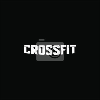 Naklejka Text crossfit logotype template isolated on black background