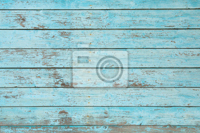Naklejka texture wooden background with old cracked blue paint