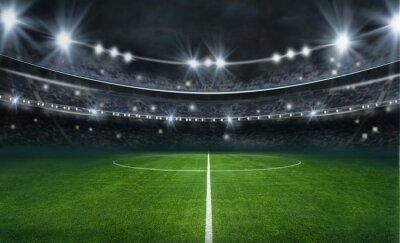 Naklejka textured soccer game field with neon fog - center, midfield