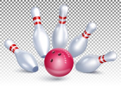 Naklejka The bowling ball hits the pins. Bowling tournament. Accurate strike. 3d realistic vector illustration. Isolated on transparent background.