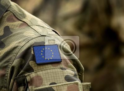 Naklejka The Flag of Europe on military uniform. Collage.