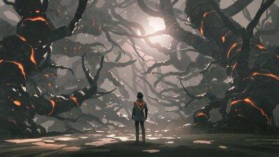 Naklejka The man standing in a road full of evil trees, digital art style, illustration painting
