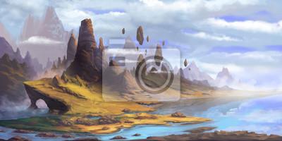 Naklejka The Mountains. Fantasy Fiction Natural Backdrop. Concept Art. Realistic Illustration. Video Game Digital CG Artwork. Nature Scenery.