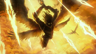 Naklejka The silhouette of an angel frantically rushing into battle with his comrades, behind him divine light, blue flying spiritual spears of light, they raise their sword to strike. 2d illustration.