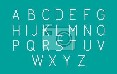 Thin Futuristic Line Stroke Font. Szczupła Łacińska Angielska Alfabet Wektorowa typografia na Zielonym tle.