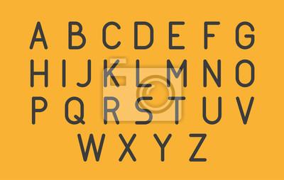 Thin Futuristic Line Stroke Font. Szczupła Łacińska Angielska Alfabet Wektorowa typografia na Żółtym tle.