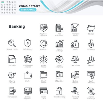 Thin line icons set of banking. Premium quality outline symbols, editable stroke. Pixel perfect. Vector illustrations for website and app development, business presentation, marketing material.