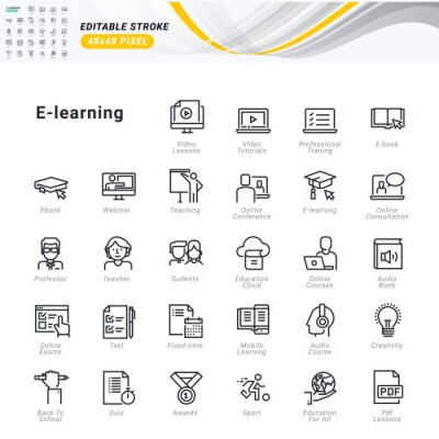 Thin line icons set of e-learning. Premium quality outline symbols, editable stroke. Pixel perfect. Vector illustrations for website and app development, business presentation, marketing material.
