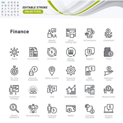 Thin line icons set of finance. Premium quality outline symbols, editable stroke. Pixel perfect. Vector illustrations for website and app development, business presentation, marketing material.