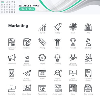 Thin line icons set of marketing. Premium quality outline symbols, editable stroke. Pixel perfect. Vector illustrations for website and app development, business presentation, marketing material.