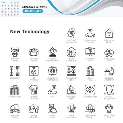 Thin line icons set of new technology. Premium quality outline symbols, editable stroke. Pixel perfect. Vector illustrations for website and app development, business presentation, marketing material.